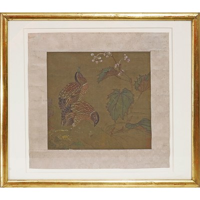 Chinese 18/19th Century, Quail, Ink and Colour on Silk