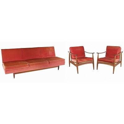 TH Brown Three Piece Tasmanian Blackwood Lounge and Matching Armchairs with Caned Back Panels