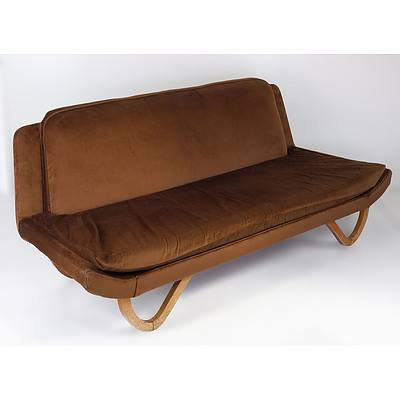 Retro Brown Velvet Upholstered Lounge Circa 1960s, Probably Rosando Brothers or Dario Zoureff