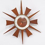 Vintage German Junghans Teak Sunburst Clock