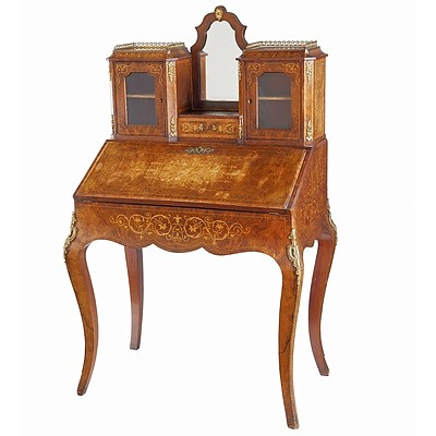 Late 19th Century French Inlaid Walnut and Ormolu Mounted Petit Bureau de Dame