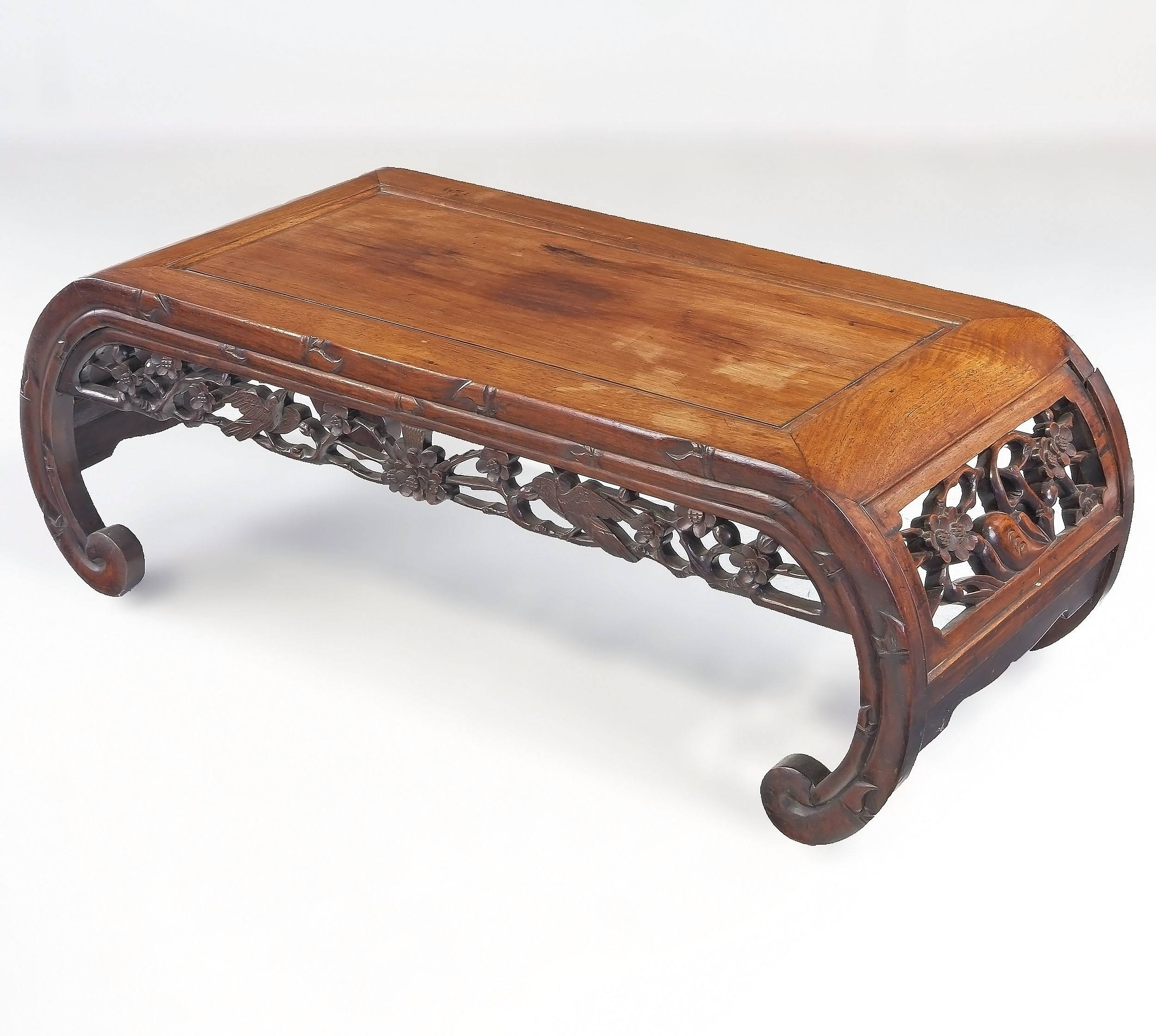 'Chinese Carved and Pierced Rosewood Kang Table, Early to Mid 20th Century'