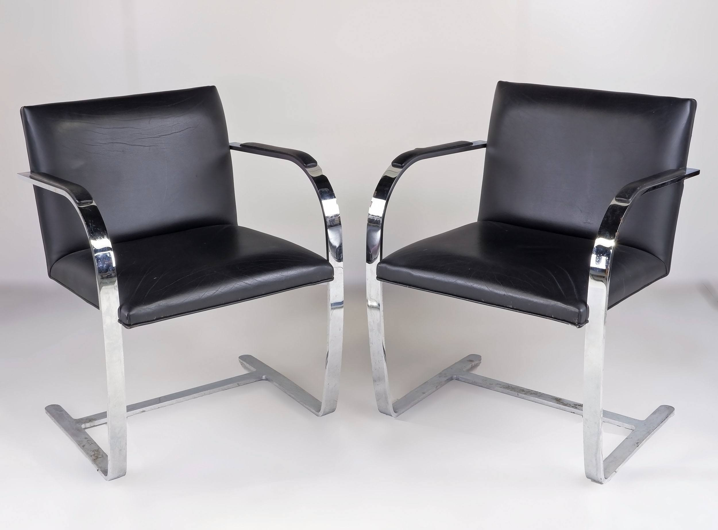 'Pair of Vintage Mies Van Der Rohe Brno Cantilever Armchairs in Chromed Flat Bar Steel and Leather'