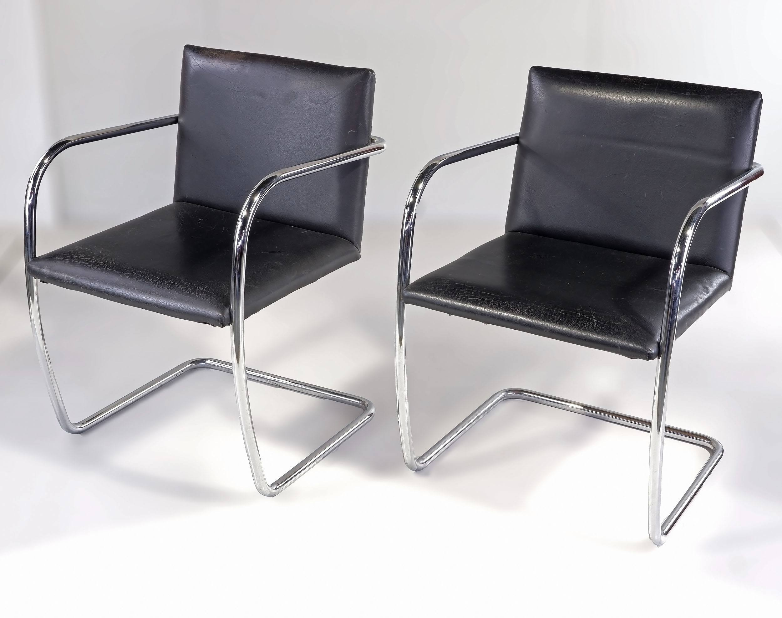 'Pair of Vintage Chromed Tubular Steel and Leather Brno Cantilever Armchairs Designed by Mies Van Der Rohe'