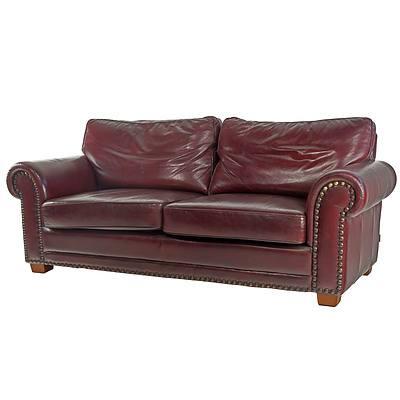 Moran 'Marlin Antica Burgundy' Leather and Brass Studded Three Seater Sofa