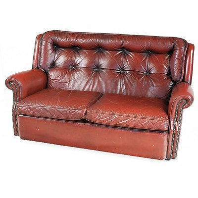 Vintage Moran Burgundy Leather Button Upholstered Two Seater Chesterfield Sofa