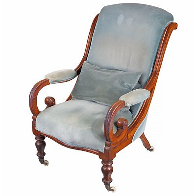 Early Victorian Mahogany Drawing Room Chair with Scrolled Arms Circa 1850
