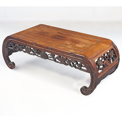 Chinese Carved and Pierced Rosewood Kang Table, Early to Mid 20th Century