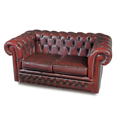 Gascoigne Burgundy Buttoned Leather Two Seater Chesterfield Lounge