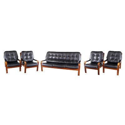 Tessa T9 Qld Black Walnut Veneered Laminated Ply and Black Buttoned Leather Upholstered Five Piece Lounge Suite Designed by Fred Lowen
