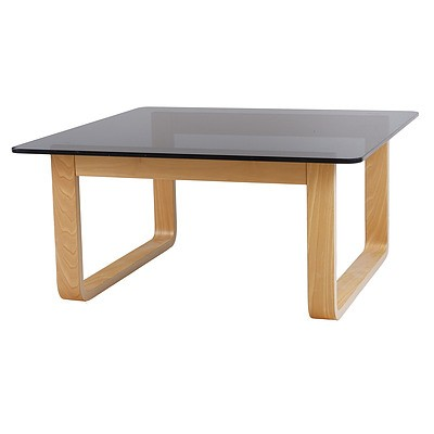 Tessa Laminated Ply and Grey Tint Glass Table Designed by Fred Lowen