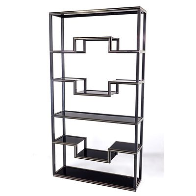 Pierre Vandel Paris Black Lacquered Extruded Aluminium Etagere with Glass Shelves
