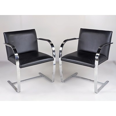 Pair of Vintage Mies Van Der Rohe 'Brno' Cantilever Armchairs in Chromed Flat Bar Steel and Leather