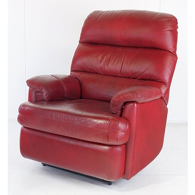Moran Burgundy Leather Upholstered Reclining Armchair