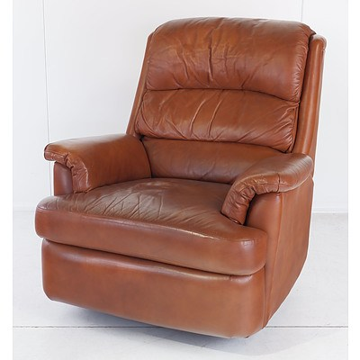 Moran Tan Leather Upholstered Reclining Armchair