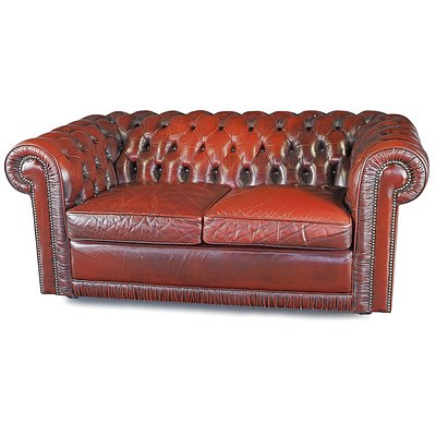 Moran Oxblood Buttoned Leather Upholstered Two Seater Chesterfield
