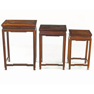 Set of Chinese Rosewood Nesting Tables, Mid 20th Century