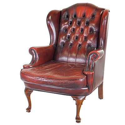 Vintage Moran Oxblood Buttoned Leather Upholstered Wingback Armchair