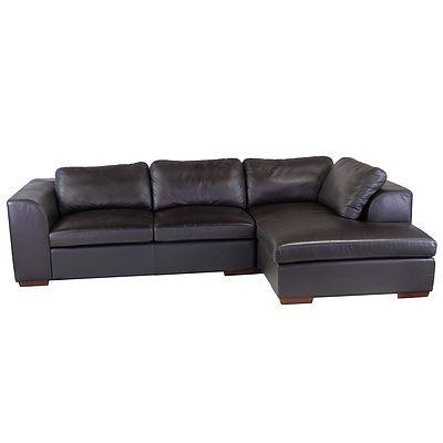 Large Moran Dark Brown Leather Upholstered Modular Lounge Suite
