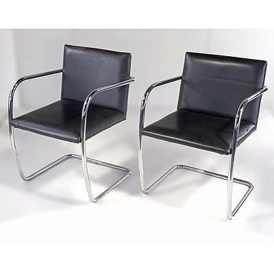Pair of Vintage Chromed Tubular Steel and Leather 'Brno' Cantilever Armchairs Designed by Mies Van Der Rohe