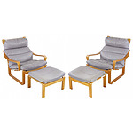 Pair of Tessa Laminated Ply and Grey Leather Chairs and Ottomans Designed by Fred Lowen