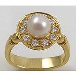 Georg Jensen Pearl & Diamond Ring