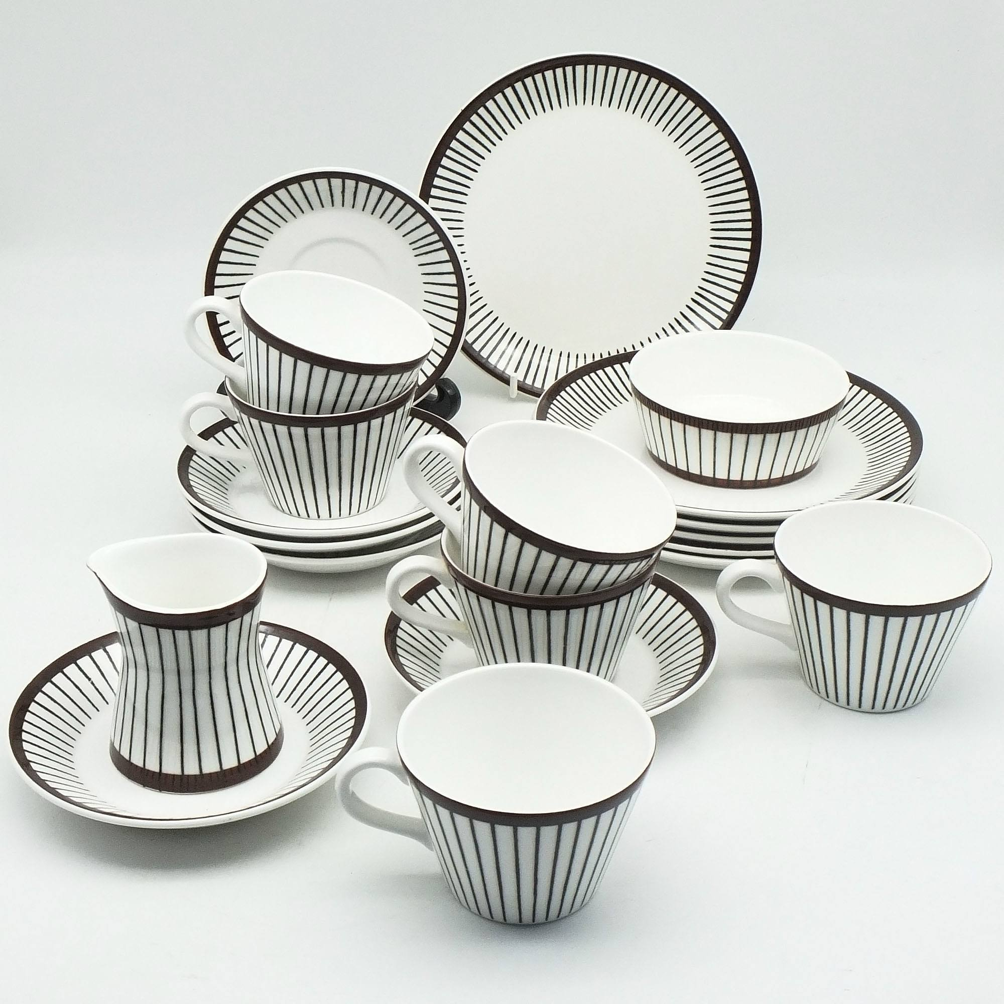 'Stig Lindberg Gustavsberg Sweden Spisa Ribb Tea Service for Six'
