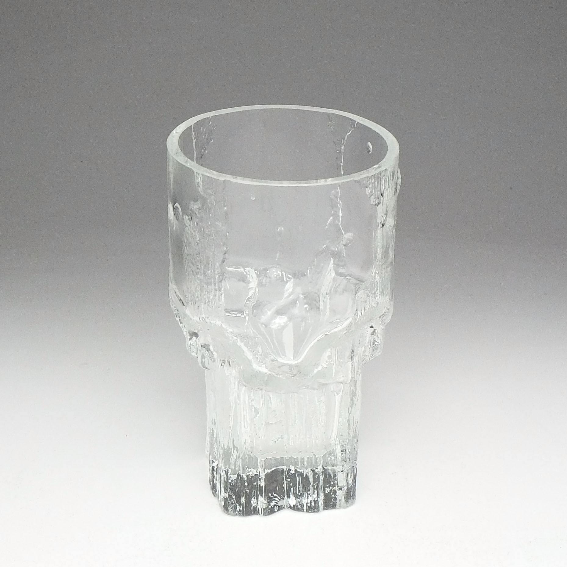 'Signed Finnish Iittala Minerva Glass Vase Designed by Tapio Wirkkala'