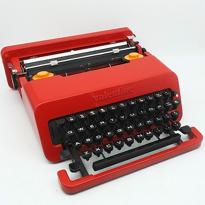 Red Olivetti Valentine S Typewriter with Case Designed by Ettore Sottsass