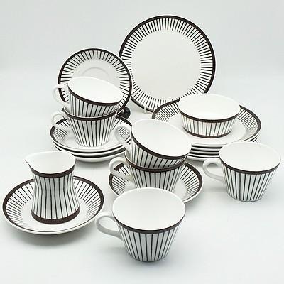 Stig Lindberg Gustavsberg Sweden 'Spisa Ribb' Tea Service for Six