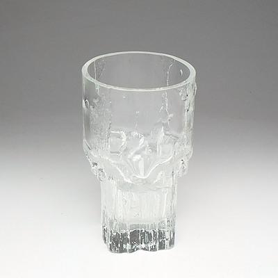 Signed Finnish Iittala 'Minerva' Glass Vase Designed by Tapio Wirkkala