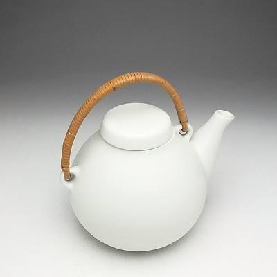Arabia Finland Ulla Procope White Stoneware and Cane Teapot