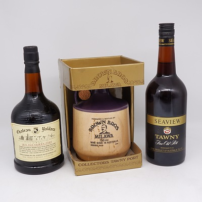 Brown Brothers Milawa Collectors Tawny Port 750ml, Seaview Tawny Fine Old Port 750ml and Chateau Yaldara 1971 Tawny Port 750ml