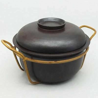 Finnish Arabia Cane and Glazed Stoneware Cooking Pot Designed by Ulla Procope