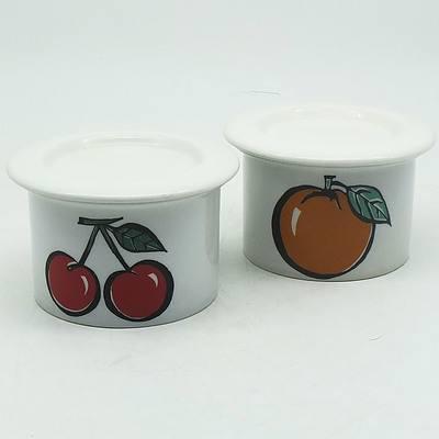 Two Finnish Arabia Pomona Jam Pots, Including Cherry and Orange Decor
