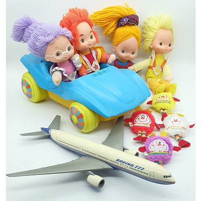 Four Rainbow Brite Soft Dolls Plus Matching Sprites and A Boeing 777 Toy Plane