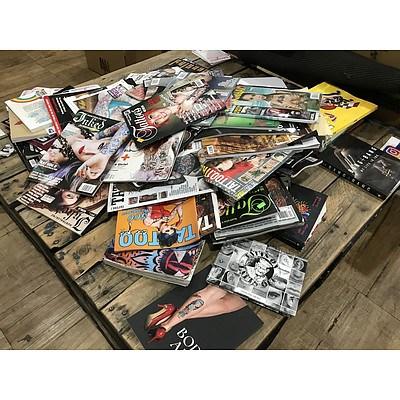 Large Lot of Tattoo Art Books & Magazines