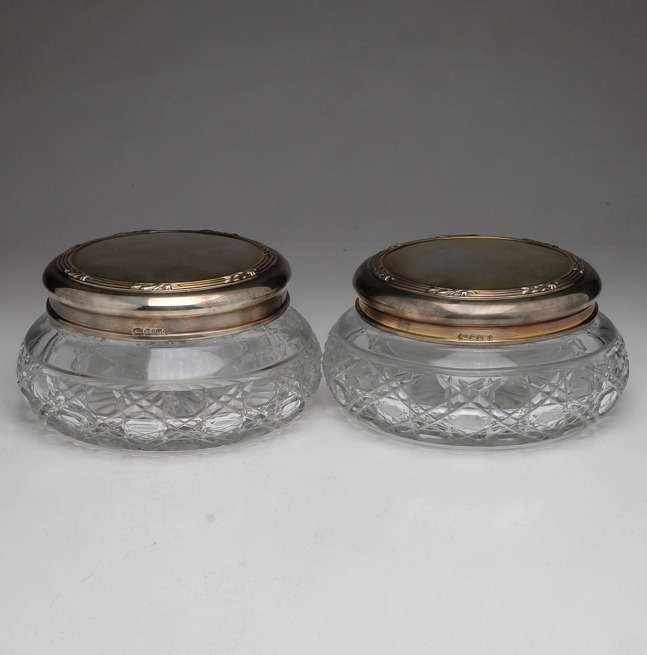 'Pair of Sterling Silver and Cut Glass Containers Sheffield Whitehill Silver & Plate Co 2000'