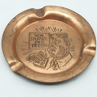 Italian Copper Souvenir Ash Tray Inscribed 'Don't Spit On Ground'