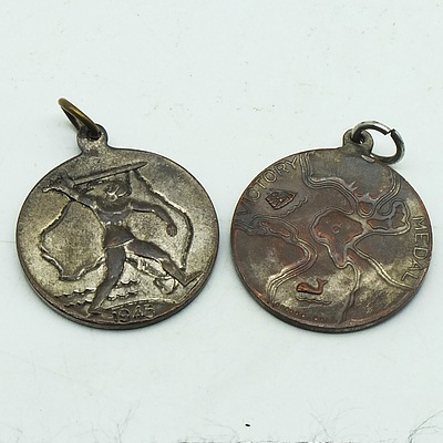 Two Boxed WWII Victory Medals 1945
