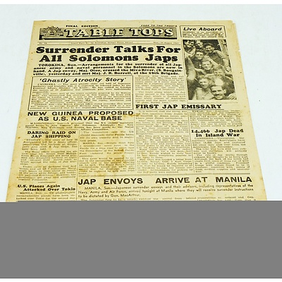 Original Final Edition of Table Tops Military Newspaper No.78 20 August 1945