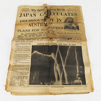 Three Original 1945 Peace Headline Australian Newspapers
