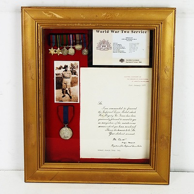 Framed WWII Medal Miniatures, Imperial Medal and Citation of War Service Awarded to Sgt Edward Joseph Gray