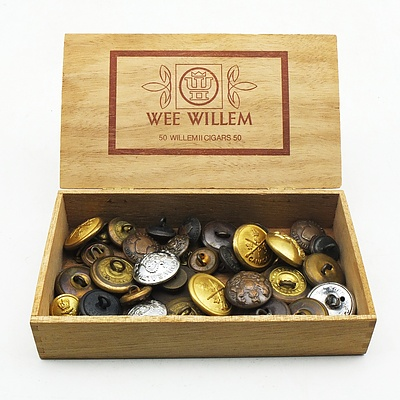 Vintage Cigar Box with a Collection of Military Buttons