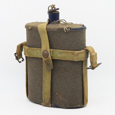 WWII Enamel Water Bottle with Cover
