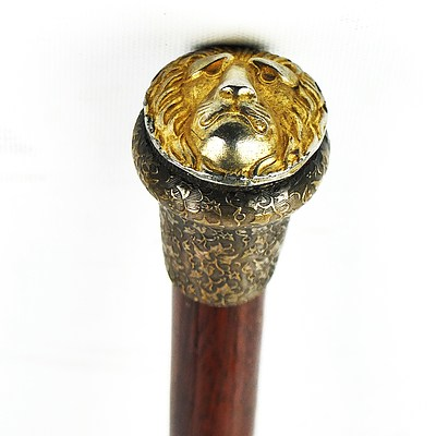 Vintage Swagger Stick with Decorative Brass Lion Head Pommel