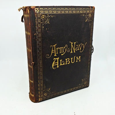 Antique Army and Navy Photo Album, With Various Photographs and Postcards