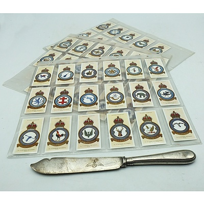 Three Sheets of RAF Cigarette Cards and a RAF Walker and Hall Knife