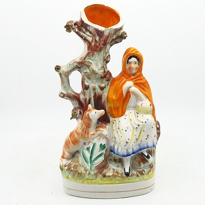Staffordshire Flat Back Porcelain Figural Posy Vase Featuring Red Riding Hood