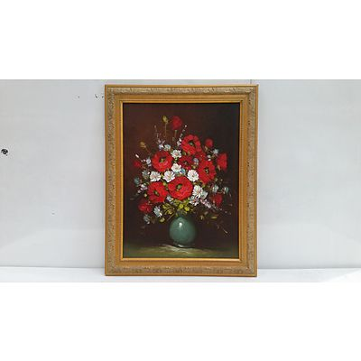 Oil Painting Of Potted Wild Red Flowers